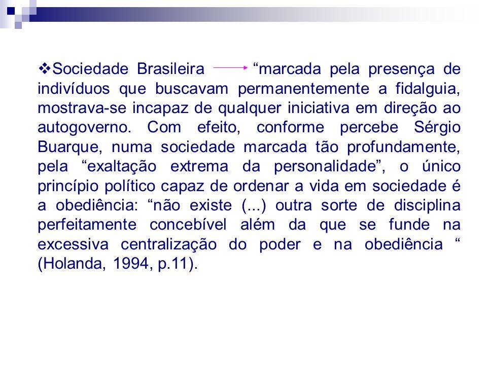Sociedade Brasileira marcada pela presença de indivíduos que buscavam permanentemente a fidalguia, mostrava-se incapaz de qualquer iniciativa em direç