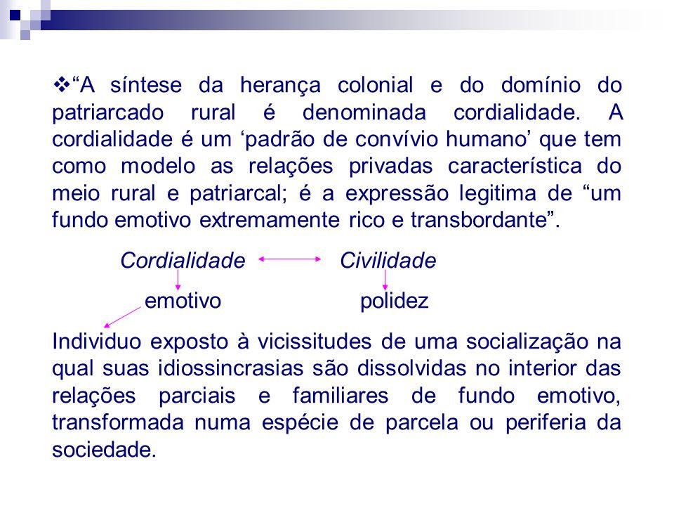 A síntese da herança colonial e do domínio do patriarcado rural é denominada cordialidade. A cordialidade é um padrão de convívio humano que tem como