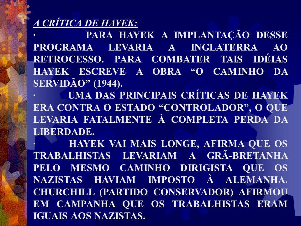 A CRÍTICA DE HAYEK: · PARA HAYEK A IMPLANTAÇÃO DESSE PROGRAMA LEVARIA A INGLATERRA AO RETROCESSO. PARA COMBATER TAIS IDÉIAS HAYEK ESCREVE A OBRA O CAM