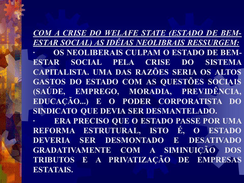 COM A CRISE DO WELAFE STATE (ESTADO DE BEM- ESTAR SOCIAL) AS IDÉIAS NEOLIBRAIS RESSURGEM: · OS NEOLIBERAIS CULPAM O ESTADO DE BEM- ESTAR SOCIAL PELA C