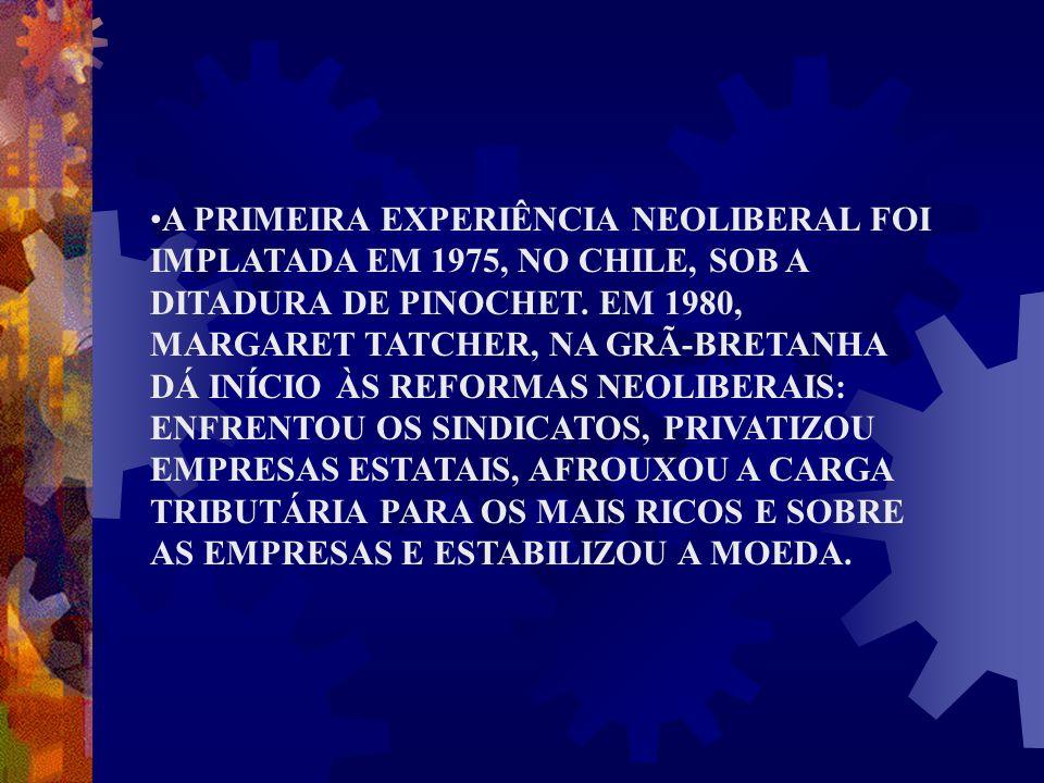 A PRIMEIRA EXPERIÊNCIA NEOLIBERAL FOI IMPLATADA EM 1975, NO CHILE, SOB A DITADURA DE PINOCHET. EM 1980, MARGARET TATCHER, NA GRÃ-BRETANHA DÁ INÍCIO ÀS