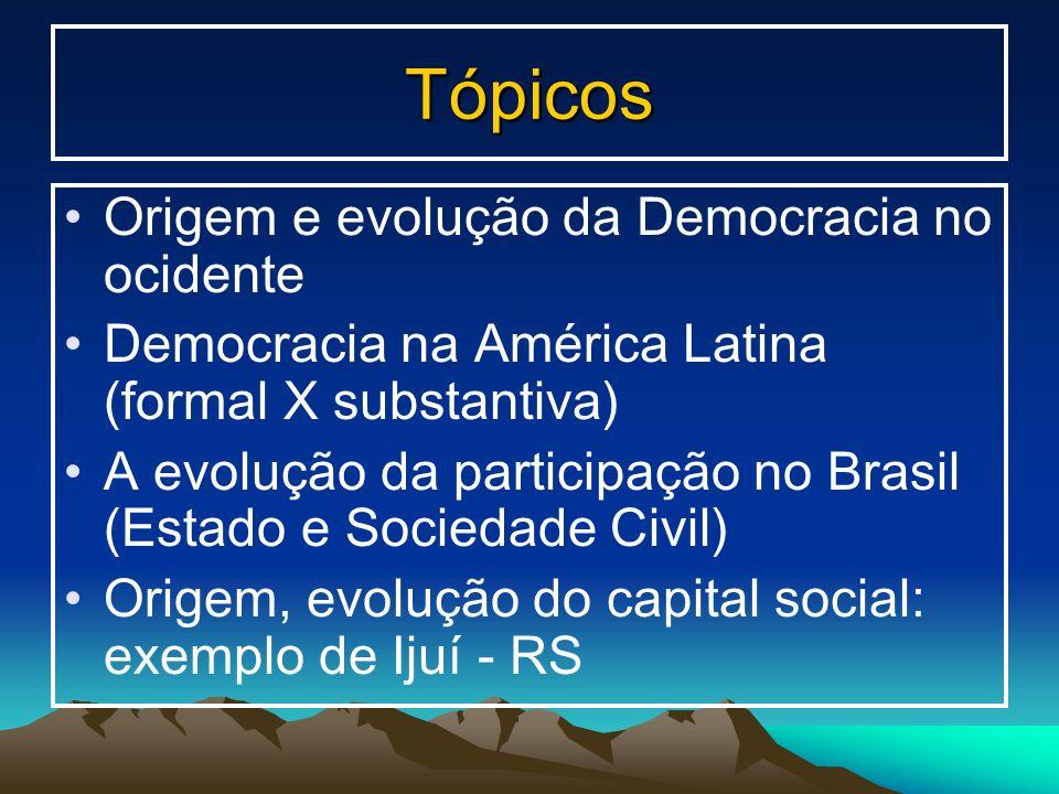 Tópicos Origem e evolução da Democracia no ocidente Democracia na América Latina (formal X substantiva) A evolução da participação no Brasil (Estado e
