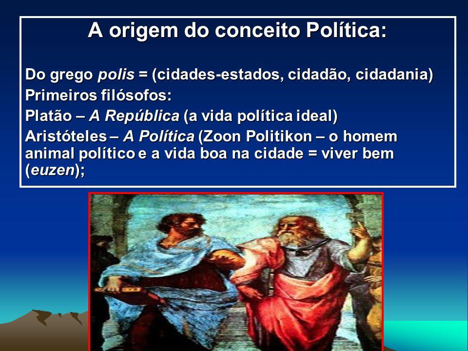 A origem do conceito Política: Do grego polis = (cidades-estados, cidadão, cidadania) Primeiros filósofos: Platão – A República (a vida política ideal