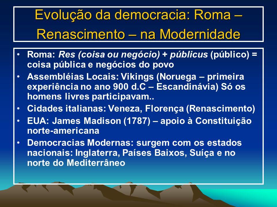 Evolução da democracia: Roma – Renascimento – na Modernidade Roma: Res (coisa ou negócio) + públicus (público) = coisa pública e negócios do povo Asse