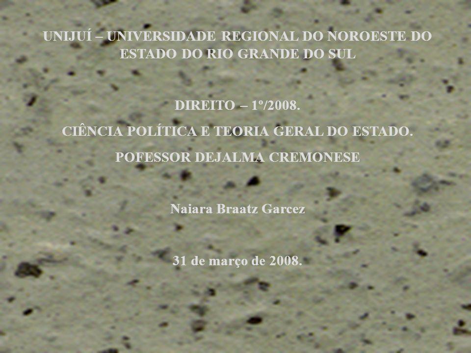 UNIJUÍ – UNIVERSIDADE REGIONAL DO NOROESTE DO ESTADO DO RIO GRANDE DO SUL DIREITO – 1º/2008. CIÊNCIA POLÍTICA E TEORIA GERAL DO ESTADO. POFESSOR DEJAL