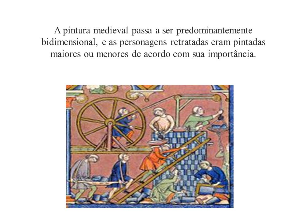 A pintura medieval passa a ser predominantemente bidimensional, e as personagens retratadas eram pintadas maiores ou menores de acordo com sua importâ