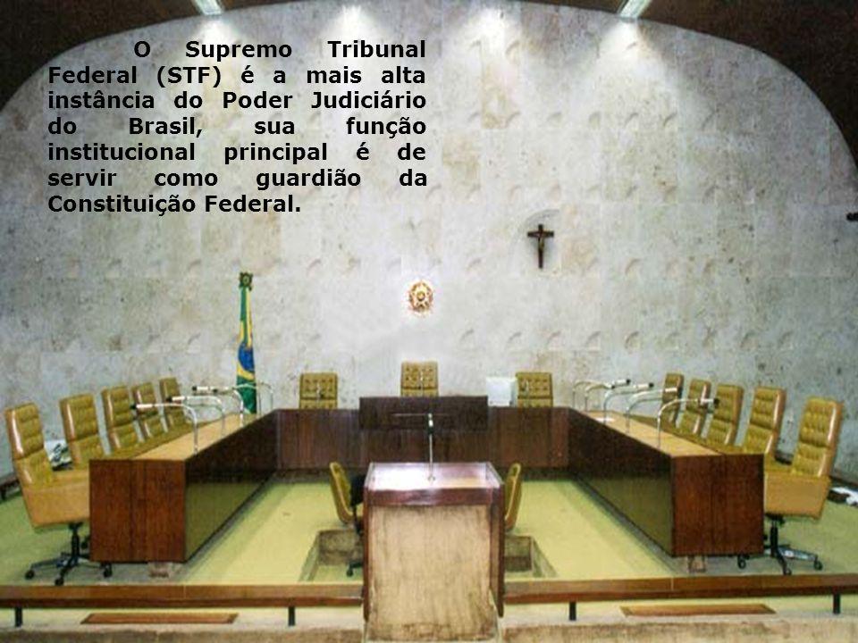 O Supremo Tribunal Federal (STF) é a mais alta instância do Poder Judiciário do Brasil, sua função institucional principal é de servir como guardião d