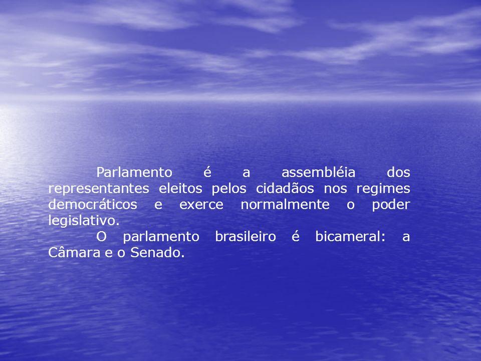 Parlamento é a assembléia dos representantes eleitos pelos cidadãos nos regimes democráticos e exerce normalmente o poder legislativo. O parlamento br