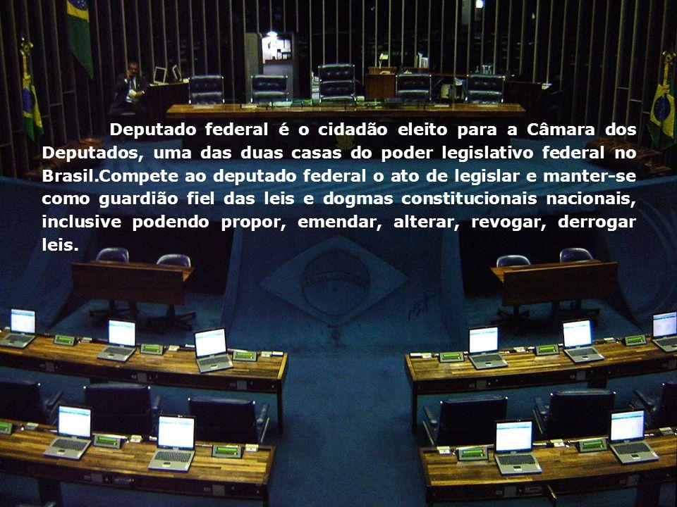 Deputado federal é o cidadão eleito para a Câmara dos Deputados, uma das duas casas do poder legislativo federal no Brasil.Compete ao deputado federal