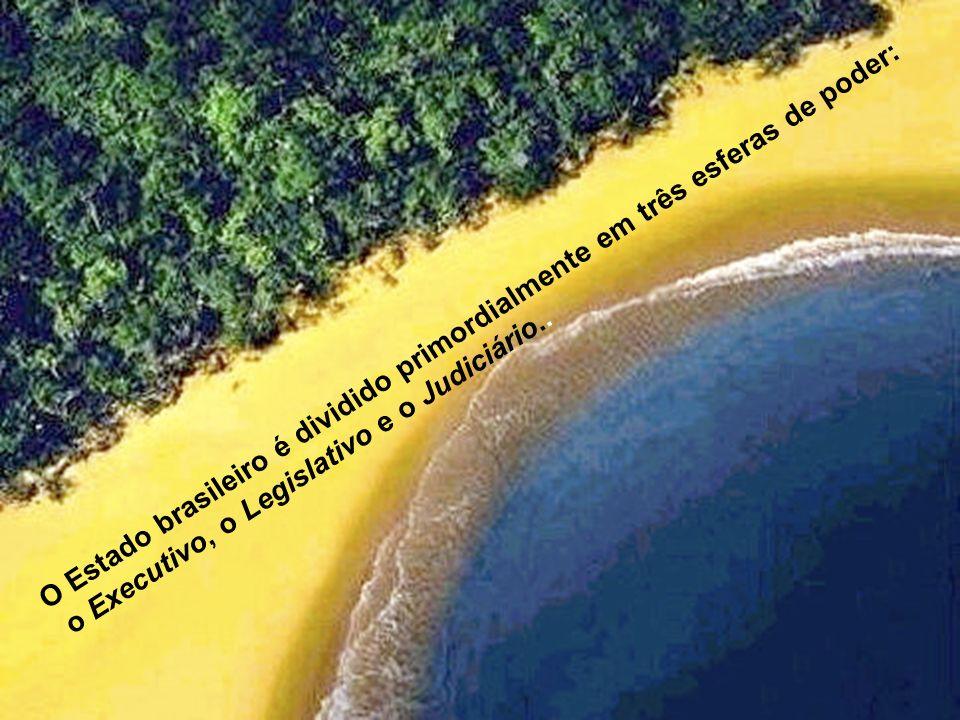 O Estado brasileiro é dividido primordialmente em três esferas de poder: o Executivo, o Legislativo e o Judiciário..