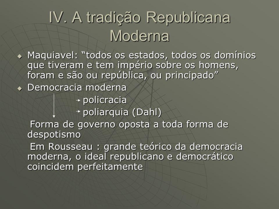 IV. A tradição Republicana Moderna Maquiavel: todos os estados, todos os domínios que tiveram e tem império sobre os homens, foram e são ou república,