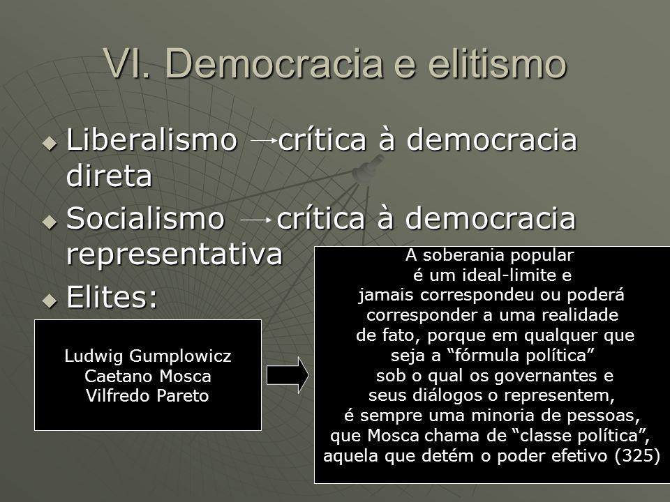 VI. Democracia e elitismo Liberalismo crítica à democracia direta Liberalismo crítica à democracia direta Socialismo crítica à democracia representati