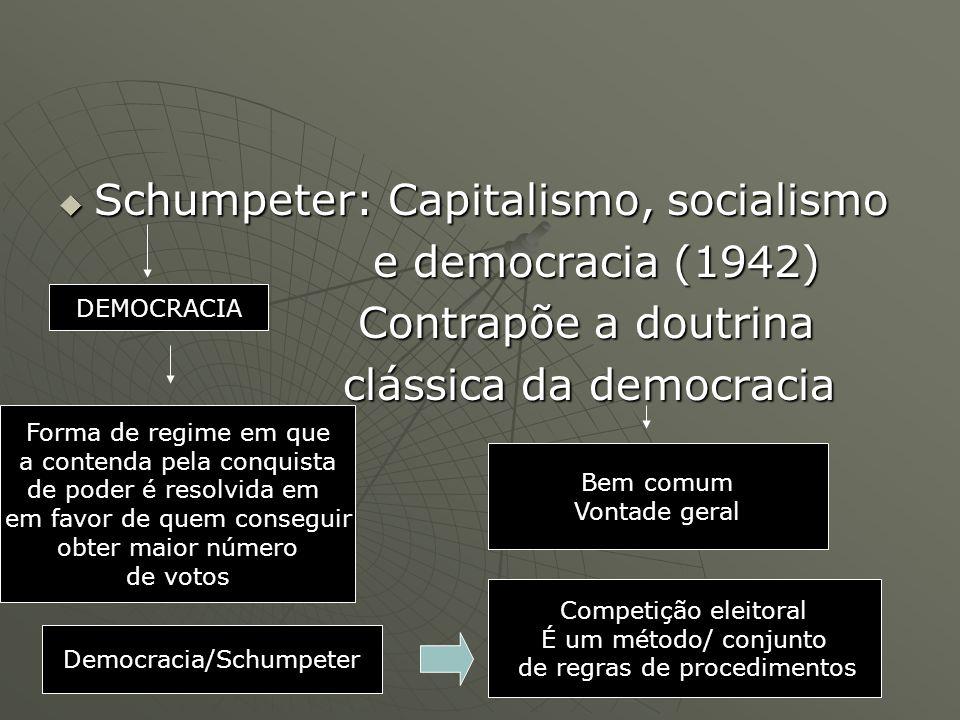 Schumpeter: Capitalismo, socialismo Schumpeter: Capitalismo, socialismo e democracia (1942) e democracia (1942) Contrapõe a doutrina Contrapõe a doutr