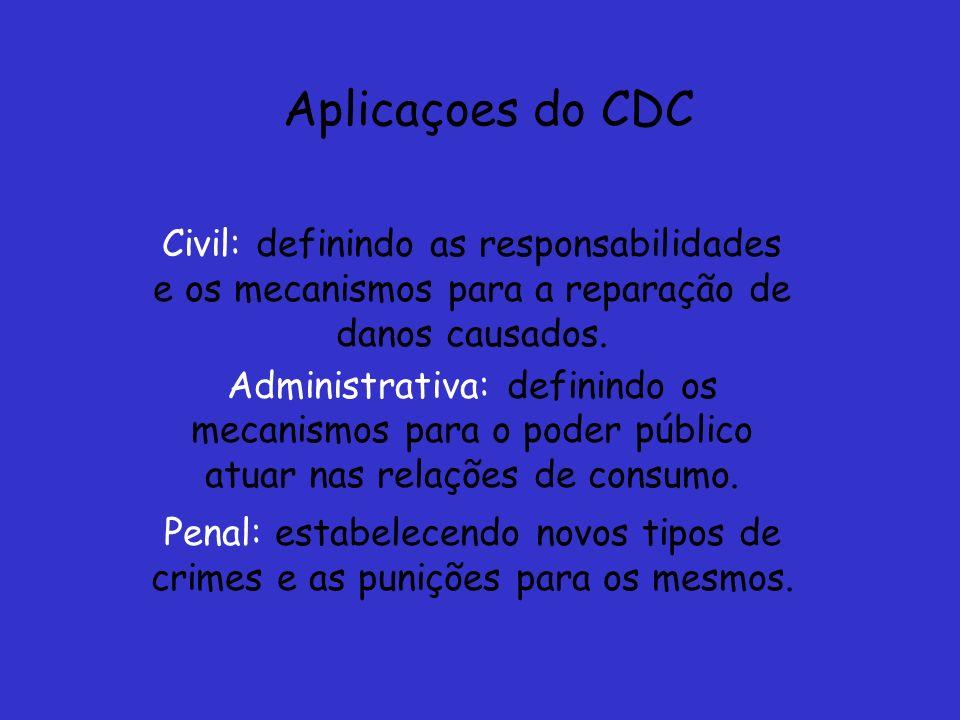 Aplicaçoes do CDC Civil: definindo as responsabilidades e os mecanismos para a reparação de danos causados. Administrativa: definindo os mecanismos pa
