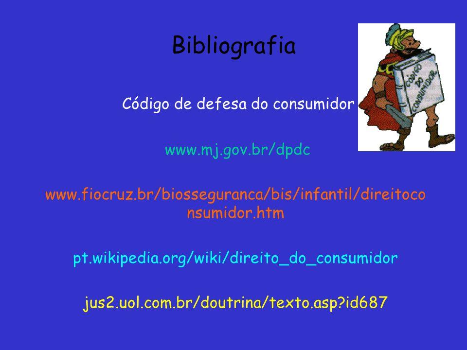 Bibliografia Código de defesa do consumidor www.mj.gov.br/dpdc www.fiocruz.br/biosseguranca/bis/infantil/direitoco nsumidor.htm pt.wikipedia.org/wiki/