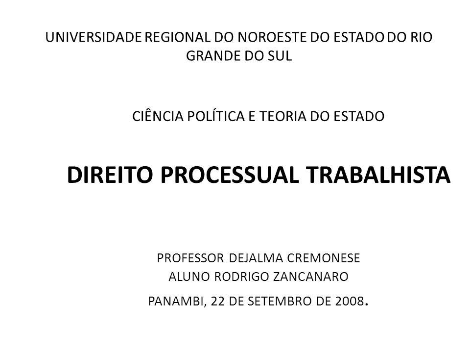 UNIVERSIDADE REGIONAL DO NOROESTE DO ESTADO DO RIO GRANDE DO SUL CIÊNCIA POLÍTICA E TEORIA DO ESTADO DIREITO PROCESSUAL TRABALHISTA PROFESSOR DEJALMA