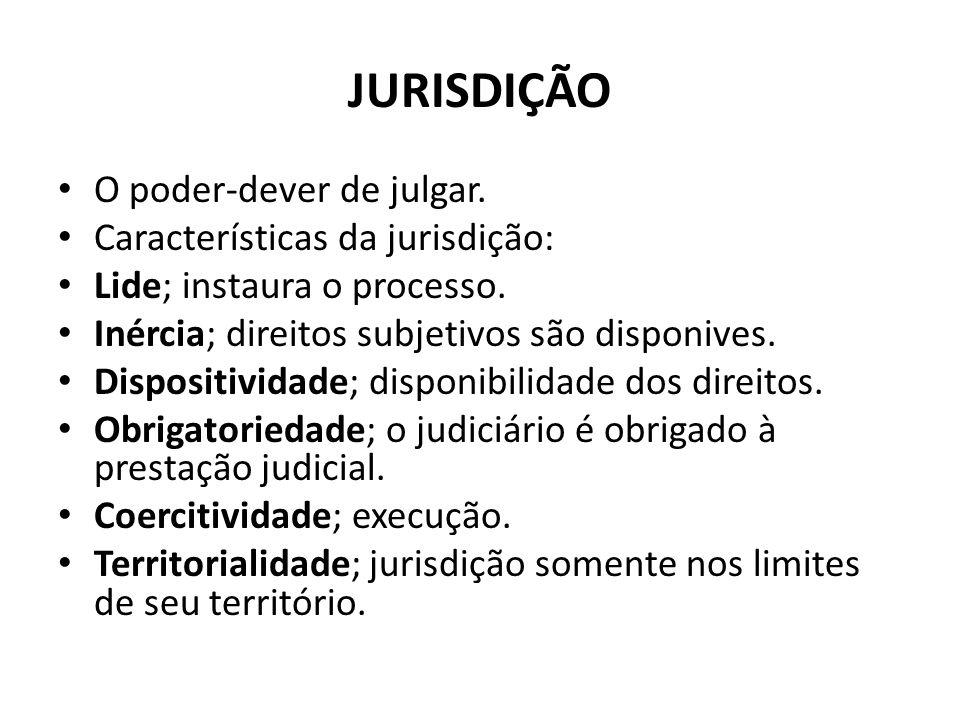 JURISDIÇÃO O poder-dever de julgar. Características da jurisdição: Lide; instaura o processo. Inércia; direitos subjetivos são disponives. Dispositivi