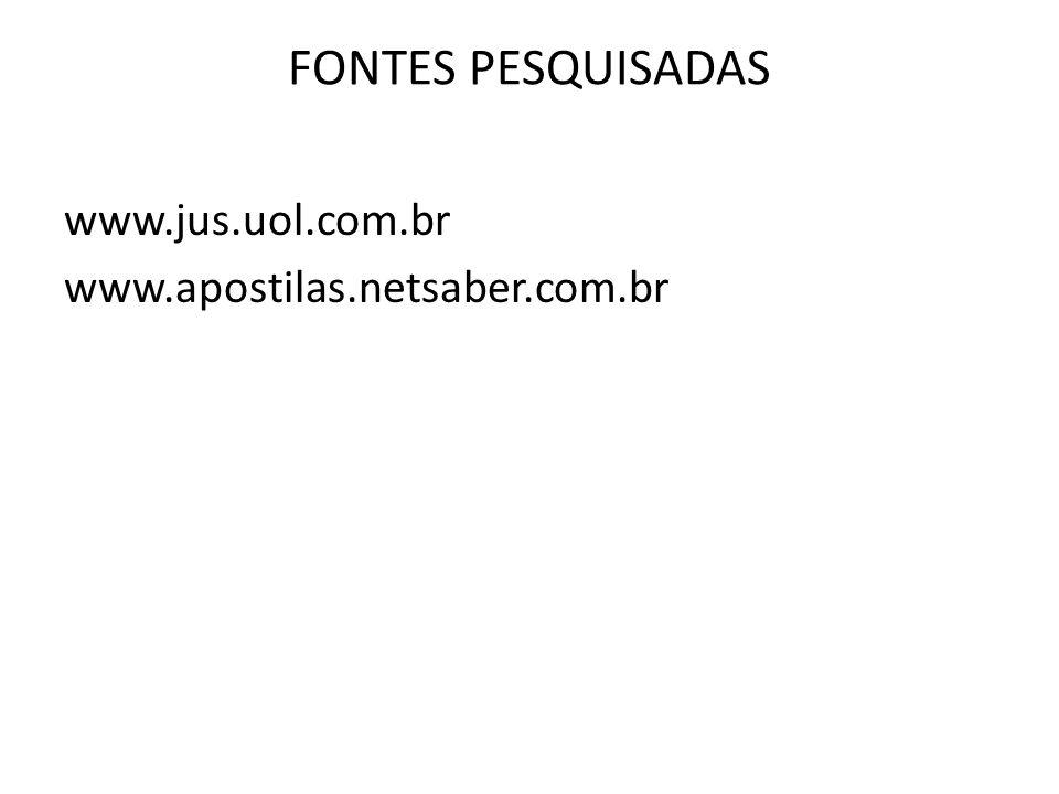 FONTES PESQUISADAS www.jus.uol.com.br www.apostilas.netsaber.com.br