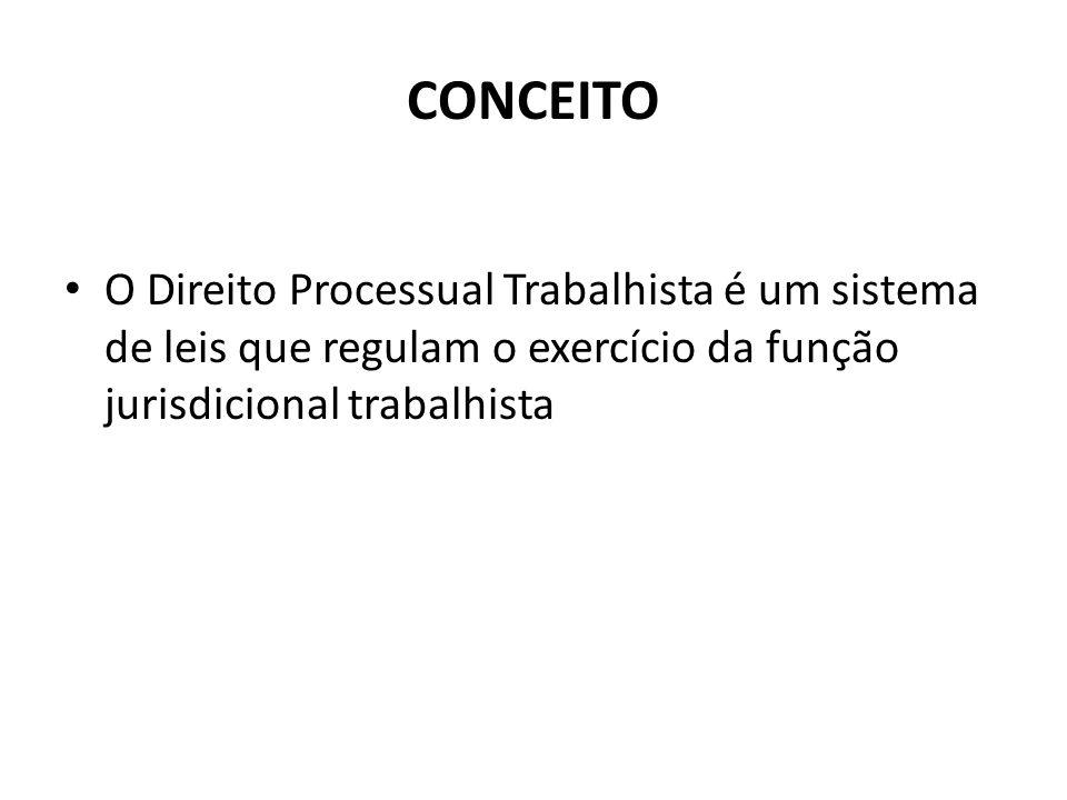 CONCEITO O Direito Processual Trabalhista é um sistema de leis que regulam o exercício da função jurisdicional trabalhista