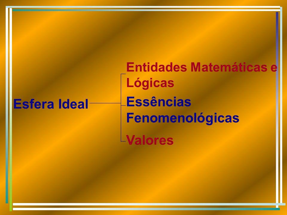 Esfera Ideal Essências Fenomenológicas Entidades Matemáticas e Lógicas Valores