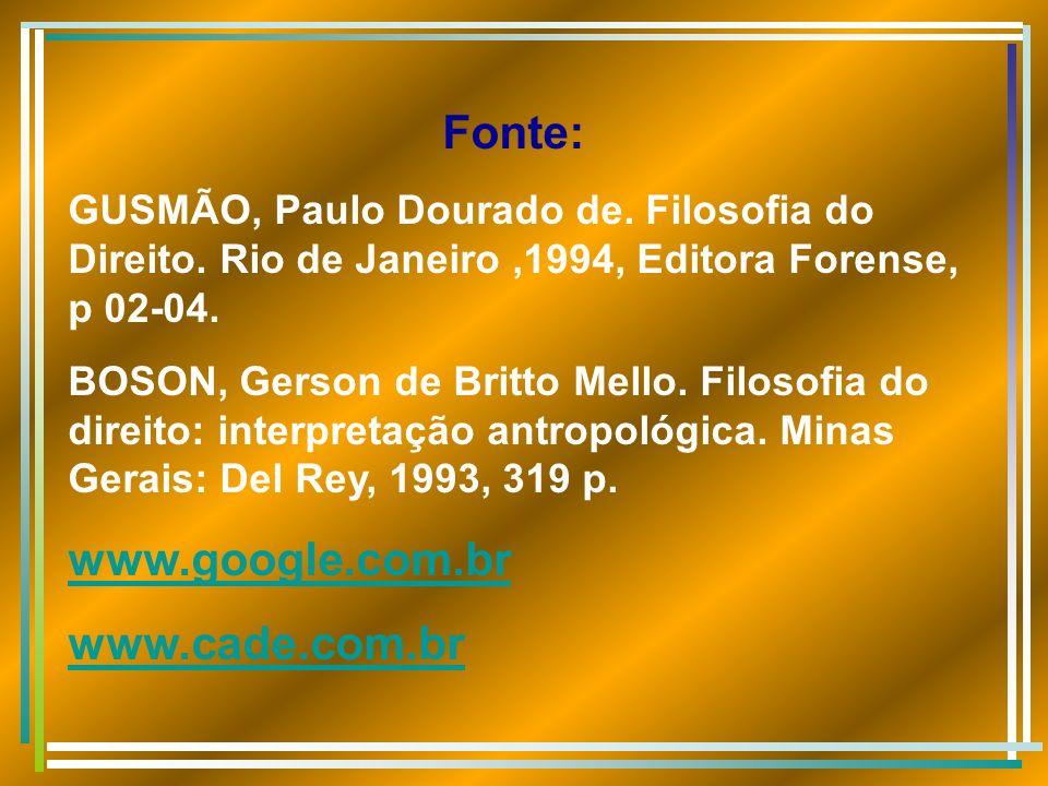 Fonte: GUSMÃO, Paulo Dourado de. Filosofia do Direito. Rio de Janeiro,1994, Editora Forense, p 02-04. BOSON, Gerson de Britto Mello. Filosofia do dire