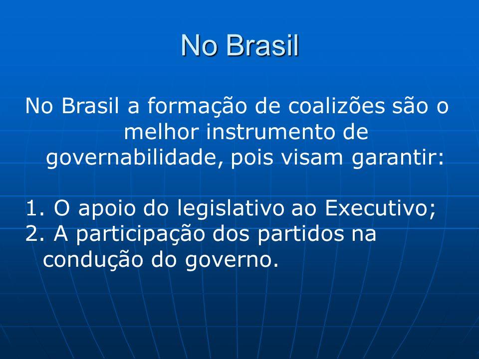 No Brasil No Brasil a formação de coalizões são o melhor instrumento de governabilidade, pois visam garantir: 1. O apoio do legislativo ao Executivo;