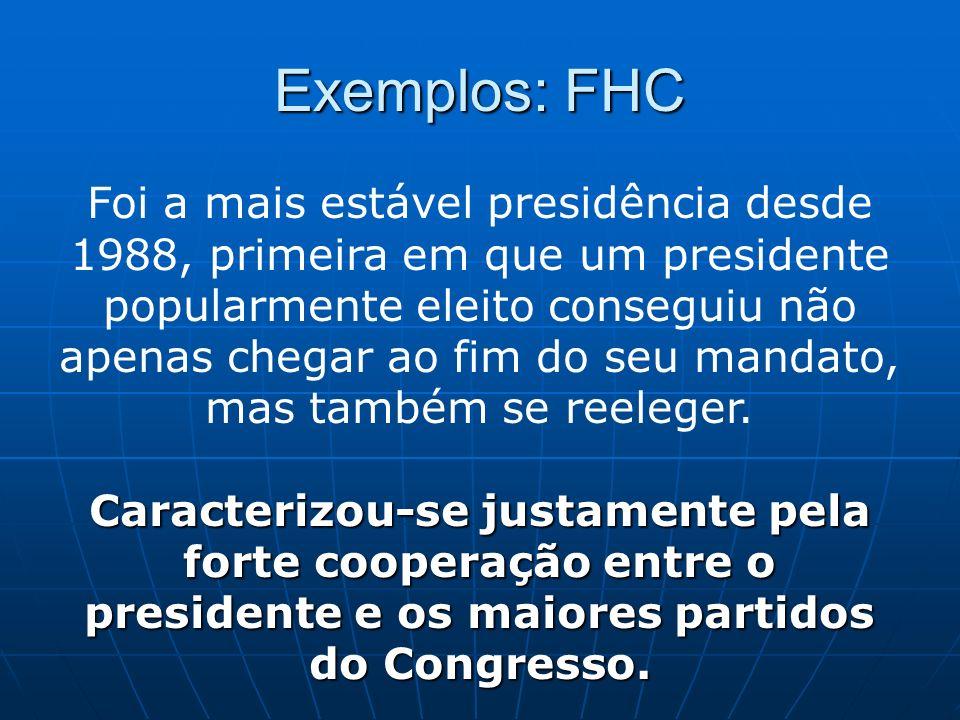 Exemplos: FHC Foi a mais estável presidência desde 1988, primeira em que um presidente popularmente eleito conseguiu não apenas chegar ao fim do seu m