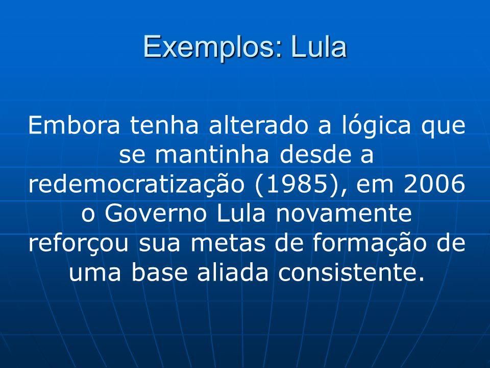 Exemplos: Lula Embora tenha alterado a lógica que se mantinha desde a redemocratização (1985), em 2006 o Governo Lula novamente reforçou sua metas de