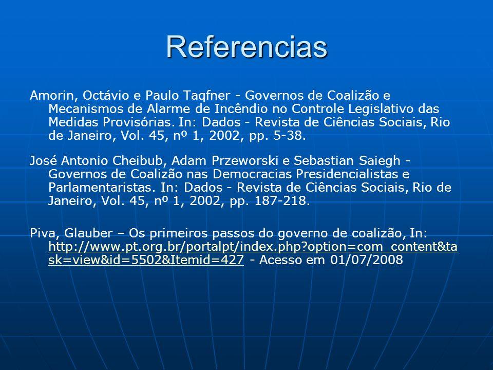 Referencias Amorin, Octávio e Paulo Taqfner - Governos de Coalizão e Mecanismos de Alarme de Incêndio no Controle Legislativo das Medidas Provisórias.