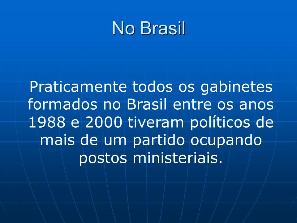 No Brasil Tal característica demonstra que todos os gabinetes são de coalizão, isto é, uma aliança entre mais de um partido para dar apoio ao governo em troca da partilha de cargos executivos.