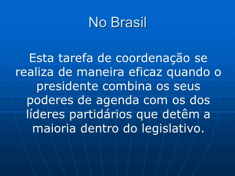 No Brasil É através deste acordo de coalizão que resulta a nomeação de deputados, senadores e outras importantes figuras partidárias para o gabinete presidencial (ministérios).