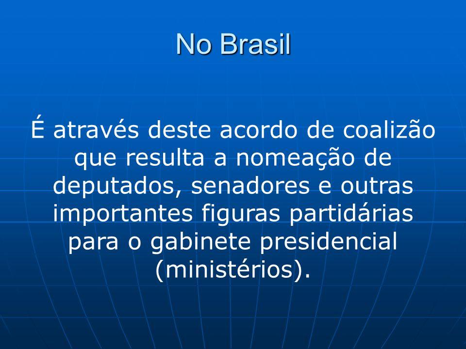 No Brasil É através deste acordo de coalizão que resulta a nomeação de deputados, senadores e outras importantes figuras partidárias para o gabinete p