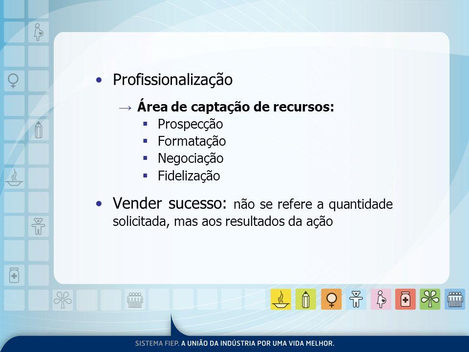 Profissionalização Área de captação de recursos: Prospecção Formatação Negociação Fidelização Vender sucesso: não se refere a quantidade solicitada, m