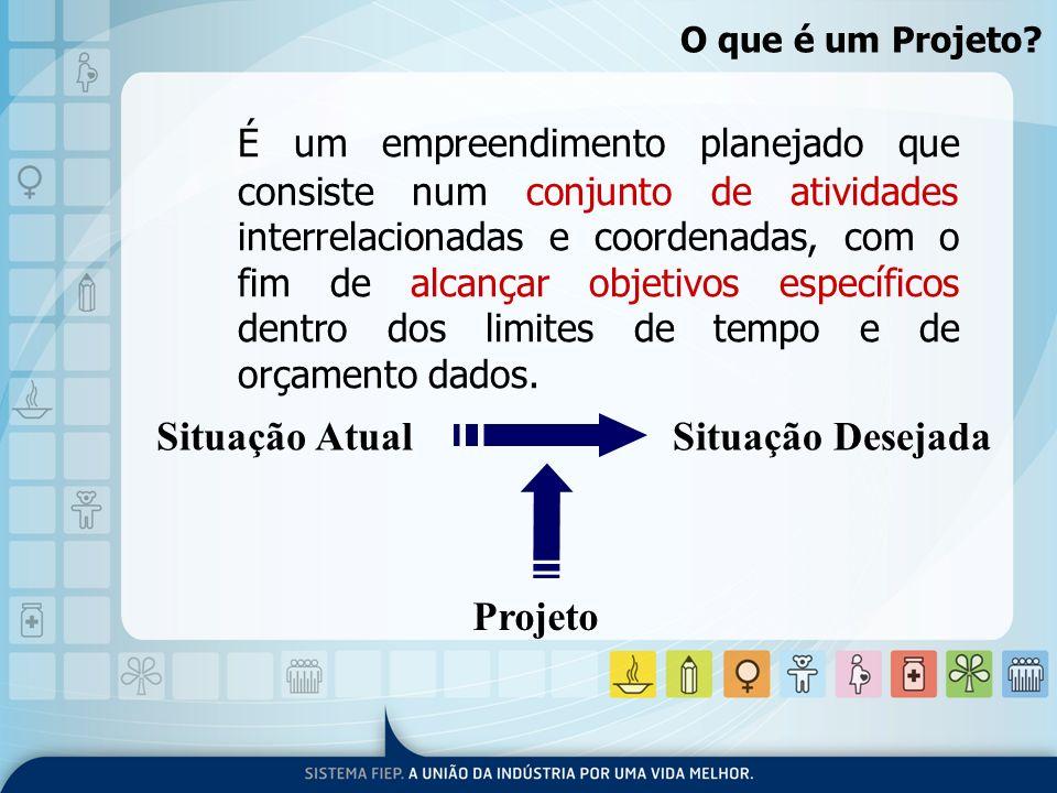 O que é um Projeto? É um empreendimento planejado que consiste num conjunto de atividades interrelacionadas e coordenadas, com o fim de alcançar objet