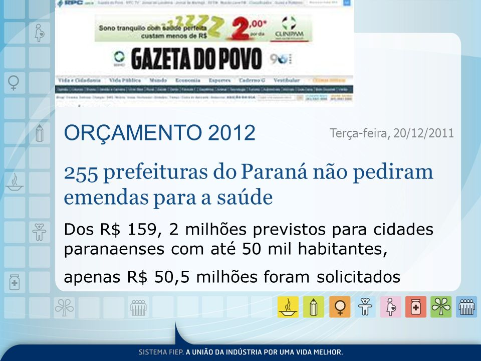 ORÇAMENTO 2012 255 prefeituras do Paraná não pediram emendas para a saúde Dos R$ 159, 2 milhões previstos para cidades paranaenses com até 50 mil habi