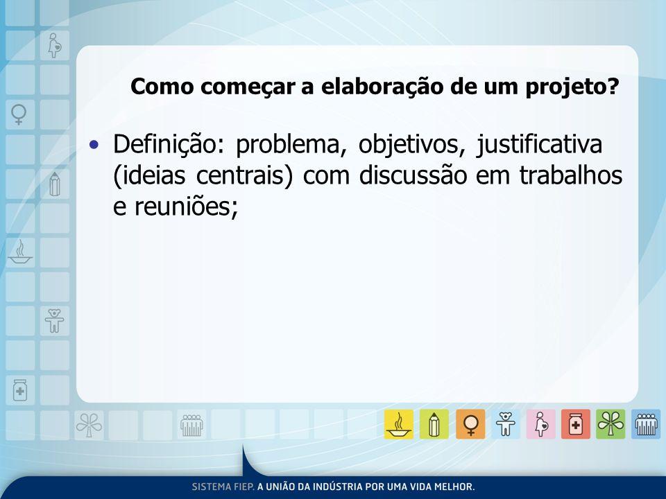 Como começar a elaboração de um projeto? Definição: problema, objetivos, justificativa (ideias centrais) com discussão em trabalhos e reuniões;