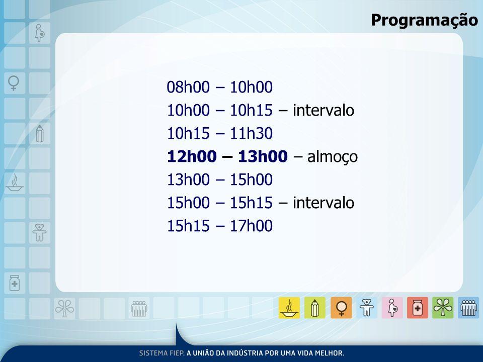 Programação 08h00 – 10h00 10h00 – 10h15 – intervalo 10h15 – 11h30 12h00 – 13h00 – almoço 13h00 – 15h00 15h00 – 15h15 – intervalo 15h15 – 17h00