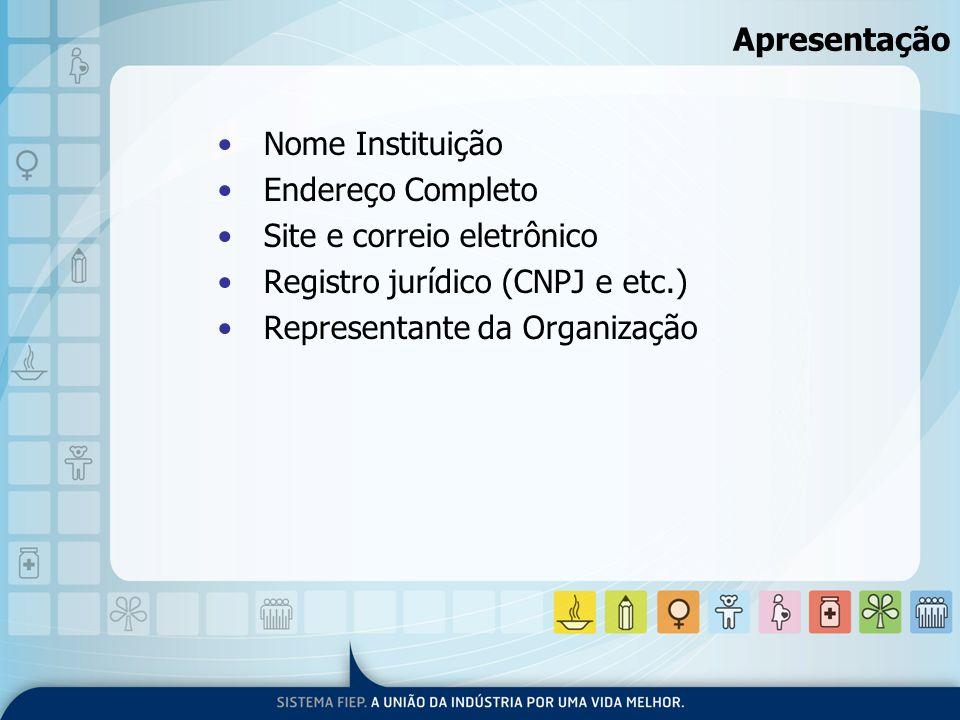 Apresentação Nome Instituição Endereço Completo Site e correio eletrônico Registro jurídico (CNPJ e etc.) Representante da Organização
