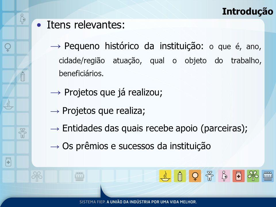 Introdução Itens relevantes: Pequeno histórico da instituição: o que é, ano, cidade/região atuação, qual o objeto do trabalho, beneficiários. Projetos