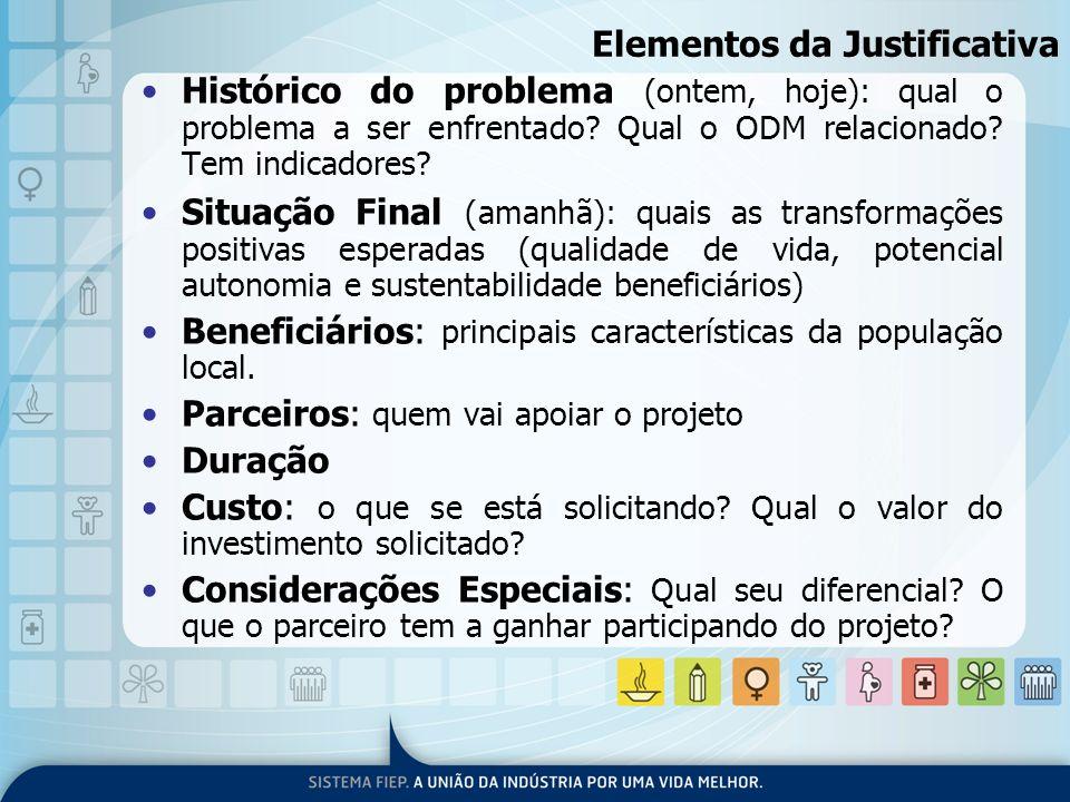 Elementos da Justificativa Histórico do problema (ontem, hoje): qual o problema a ser enfrentado? Qual o ODM relacionado? Tem indicadores? Situação Fi