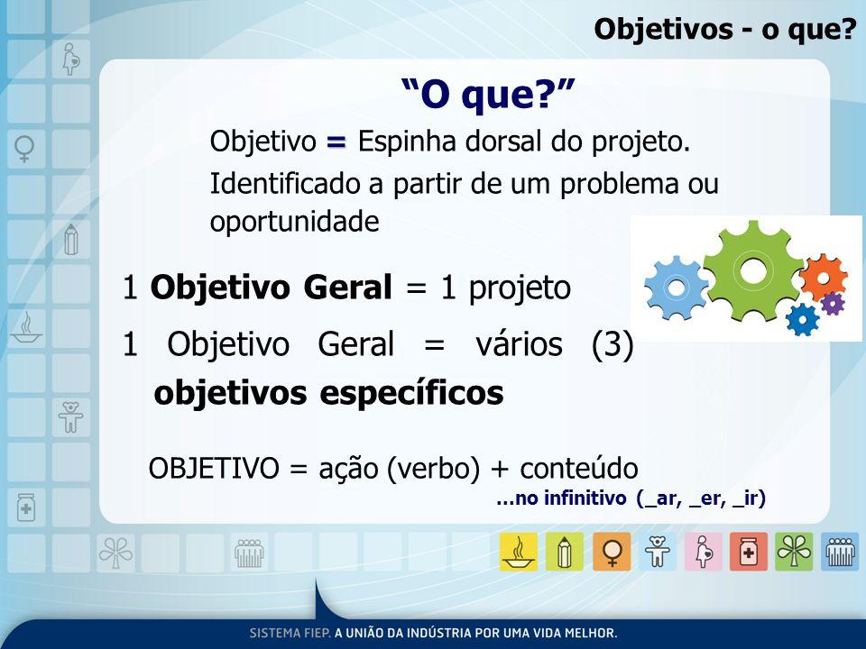 1 Objetivo Geral = 1 projeto 1 Objetivo Geral = vários (3) objetivos específicos O que? = Objetivo = Espinha dorsal do projeto. Identificado a partir