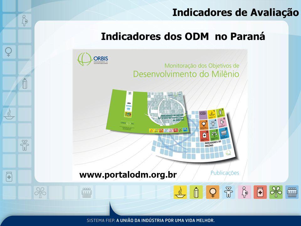 Indicadores dos ODM no Paraná www.portalodm.org.br Indicadores de Avaliação
