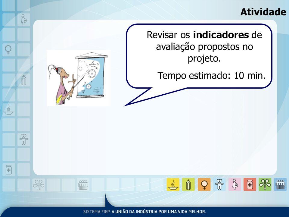 Atividade Revisar os indicadores de avaliação propostos no projeto. Tempo estimado: 10 min.