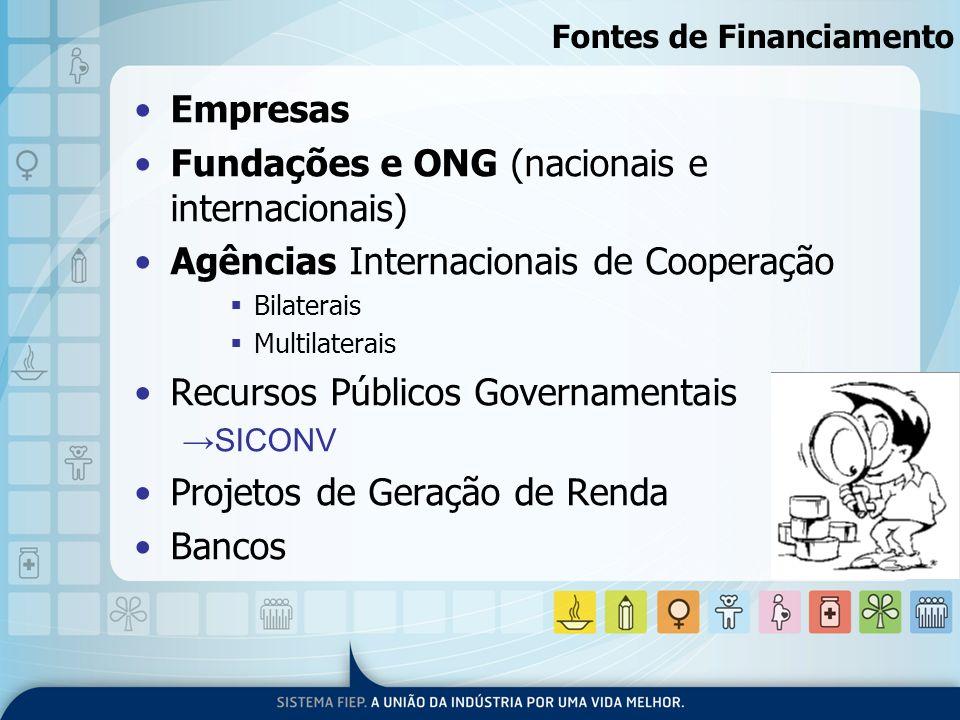 Fontes de Financiamento Empresas Fundações e ONG (nacionais e internacionais) Agências Internacionais de Cooperação Bilaterais Multilaterais Recursos