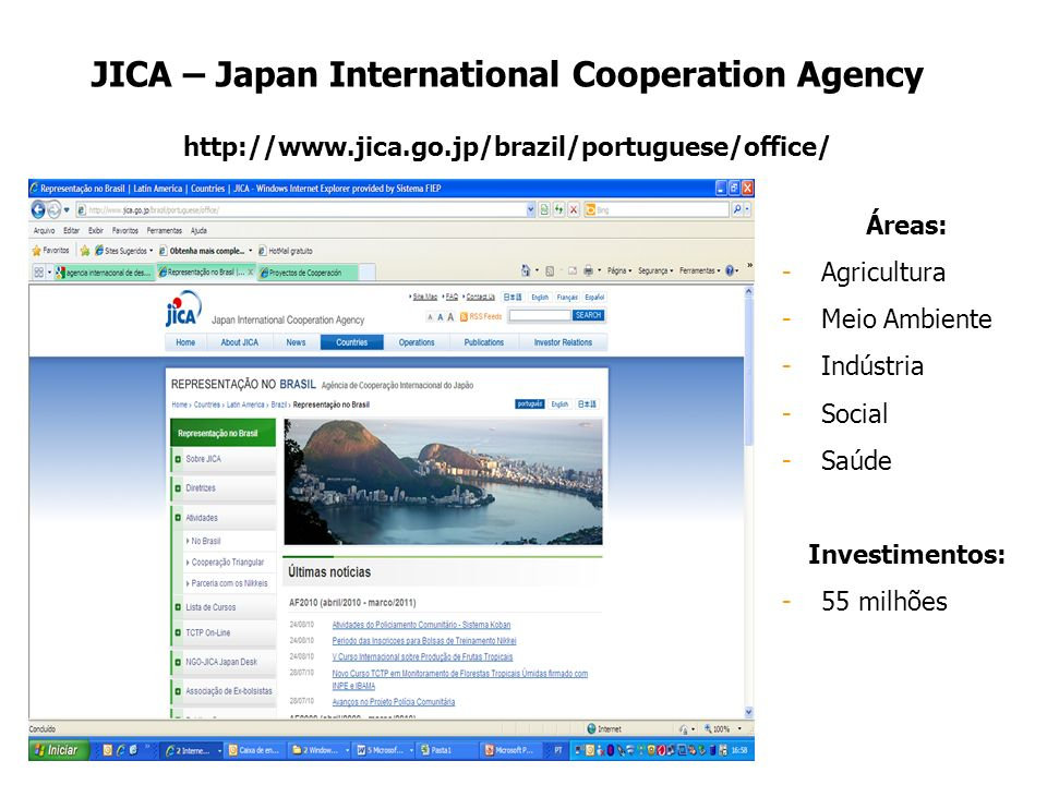 JICA – Japan International Cooperation Agency http://www.jica.go.jp/brazil/portuguese/office/ Áreas: -Agricultura -Meio Ambiente -Indústria -Social -S