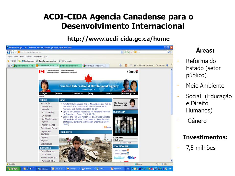 ACDI-CIDA Agencia Canadense para o Desenvolvimento Internacional http://www.acdi-cida.gc.ca/home Áreas: -Reforma do Estado (setor público) -Meio Ambie