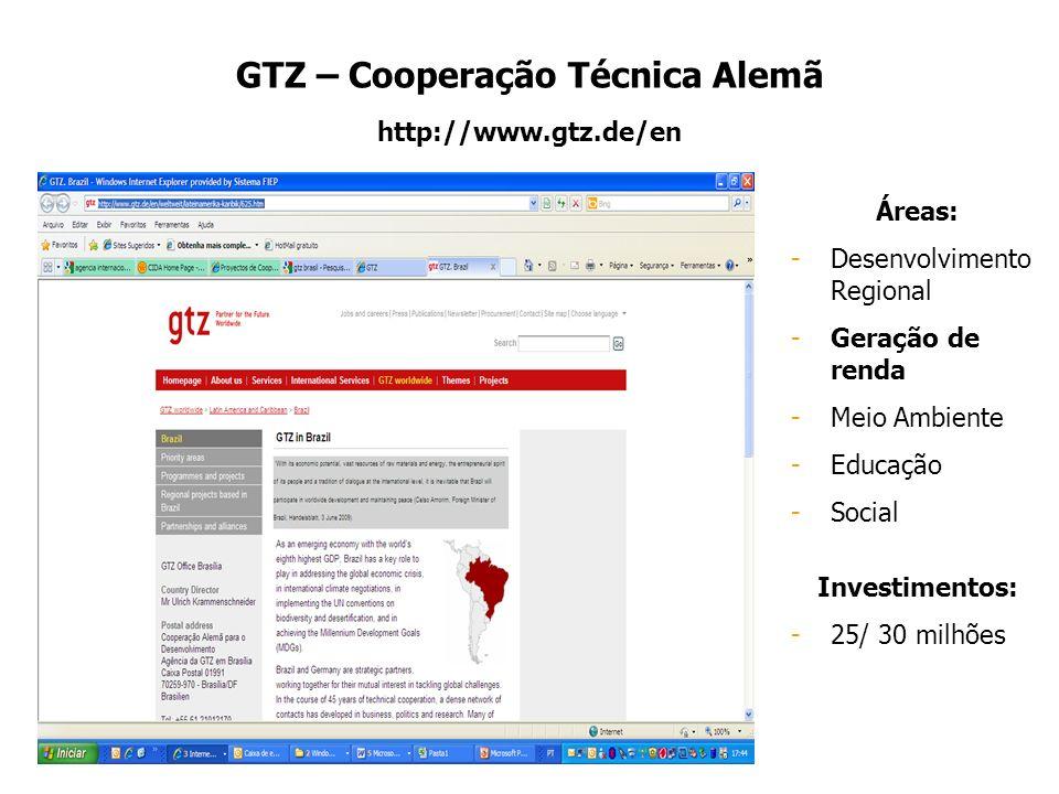 GTZ – Cooperação Técnica Alemã http://www.gtz.de/en Áreas: -Desenvolvimento Regional -Geração de renda -Meio Ambiente -Educação -Social Investimentos: