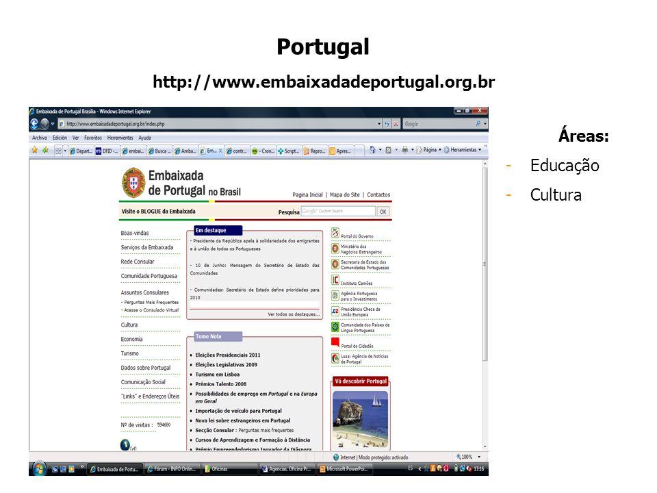 Portugal http://www.embaixadadeportugal.org.br Áreas: -Educação -Cultura