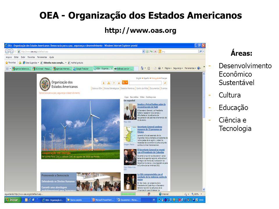 OEA - Organização dos Estados Americanos http://www.oas.org Áreas: -Desenvolvimento Econômico Sustentável -Cultura -Educação -Ciência e Tecnologia