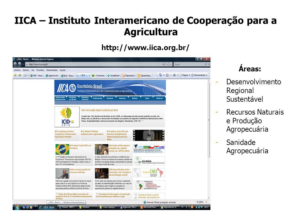IICA – Instituto Interamericano de Cooperação para a Agricultura http://www.iica.org.br/ Áreas: -Desenvolvimento Regional Sustentável -Recursos Natura